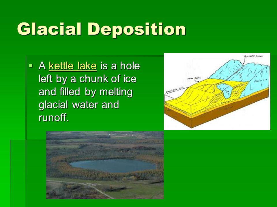 Glacial Deposition A kettle lake is a hole left by a chunk of ice and filled by melting glacial water and runoff.
