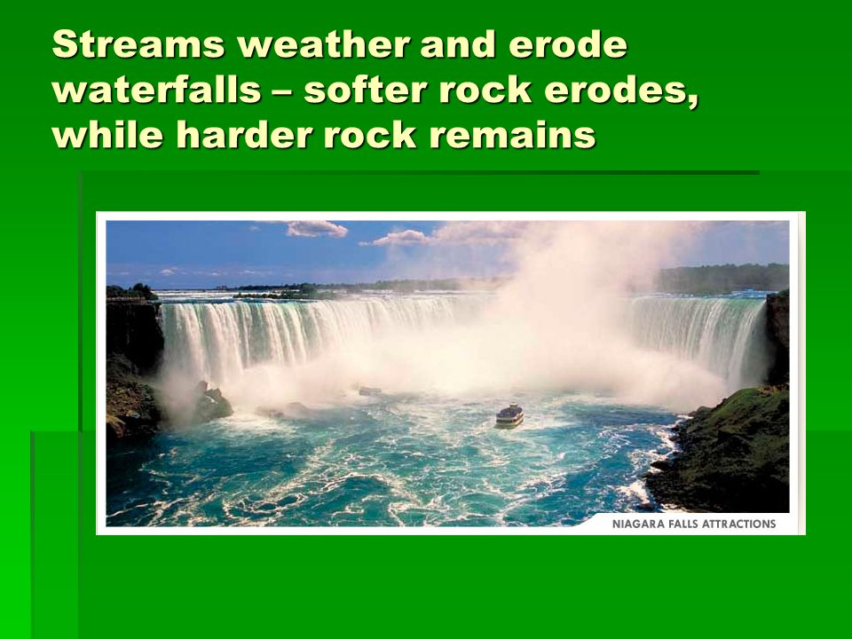Streams weather and erode waterfalls – softer rock erodes, while harder rock remains