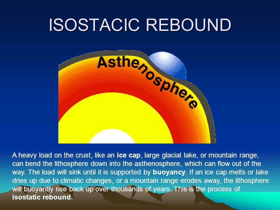 ISOSTACIC REBOUND A heavy load on the crust, like an ice cap, large glacial lake, or mountain range,