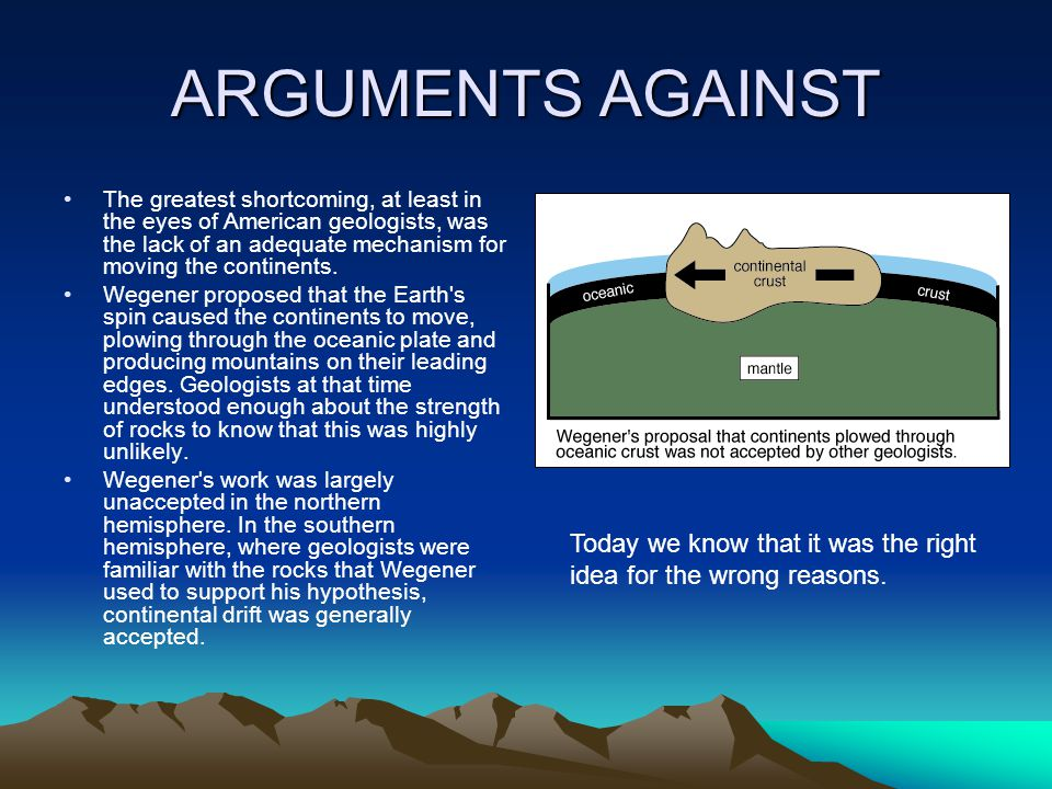 ARGUMENTS AGAINST Today we know that it was the right