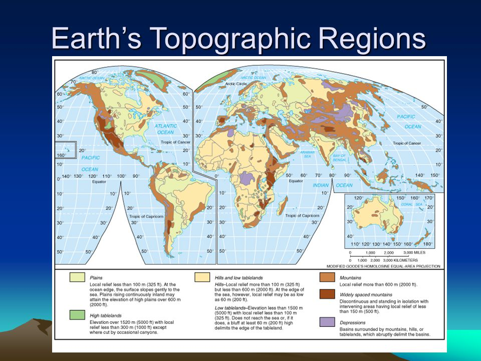 Earth's Topographic Regions
