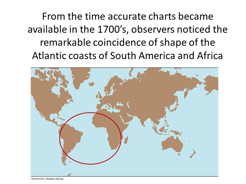 From the time accurate charts became available in the 1700's, observers noticed the remarkable coincidence of shape of the Atlantic coasts of South America and Africa