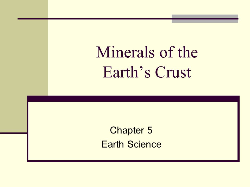 Minerals of the Earth's Crust