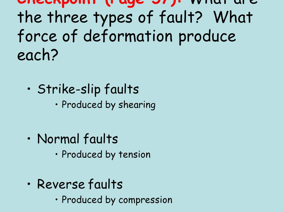 Checkpoint (Page 57): What are the three types of fault