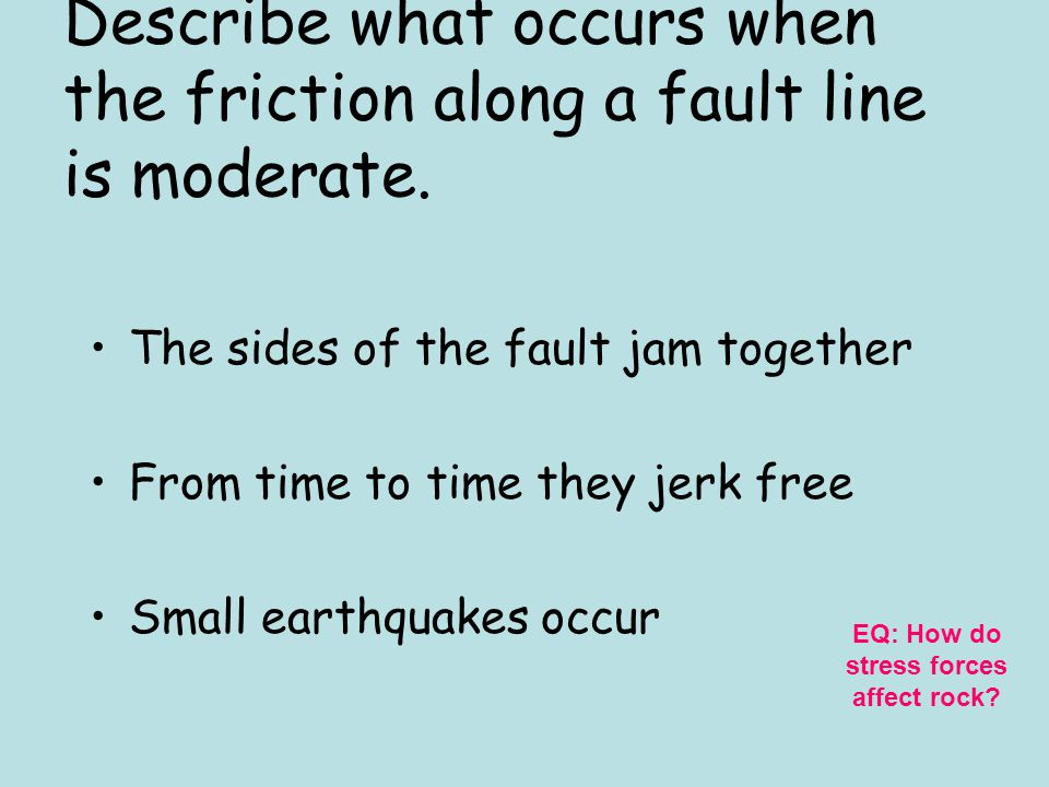 Describe what occurs when the friction along a fault line is moderate.