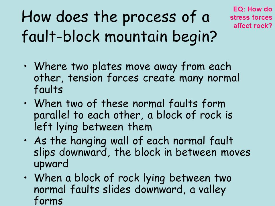 How does the process of a fault-block mountain begin
