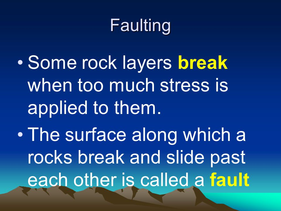 Some rock layers break when too much stress is applied to them.