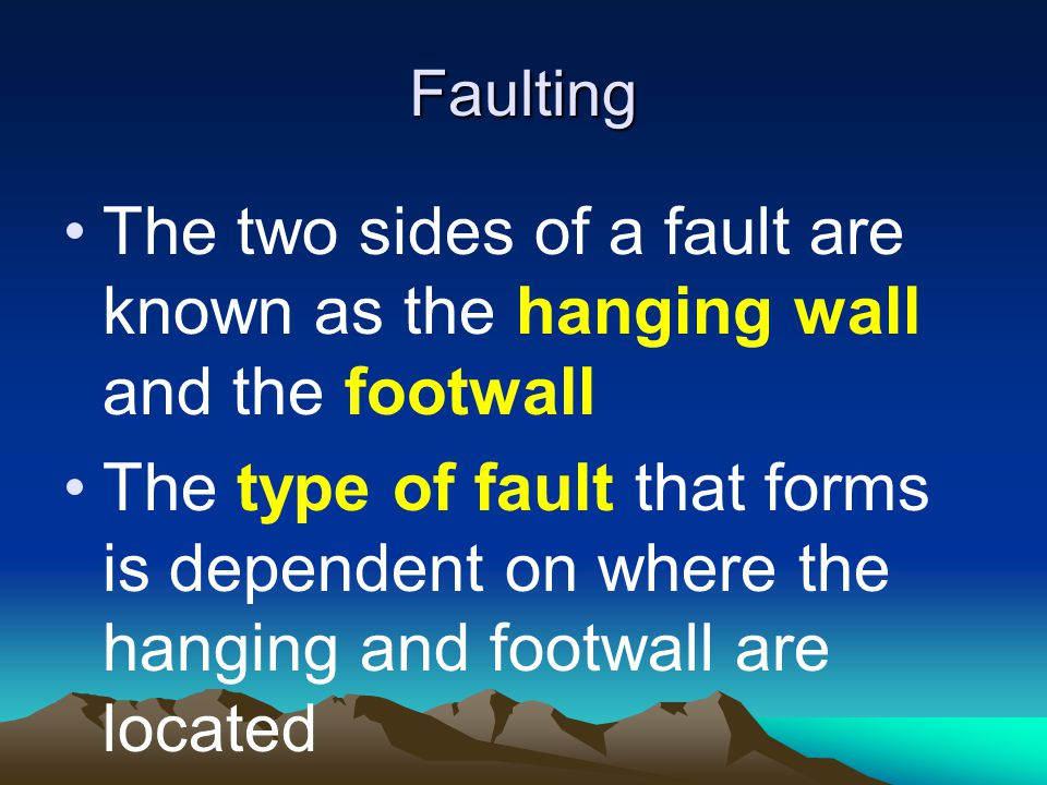 Faulting The two sides of a fault are known as the hanging wall and the footwall.