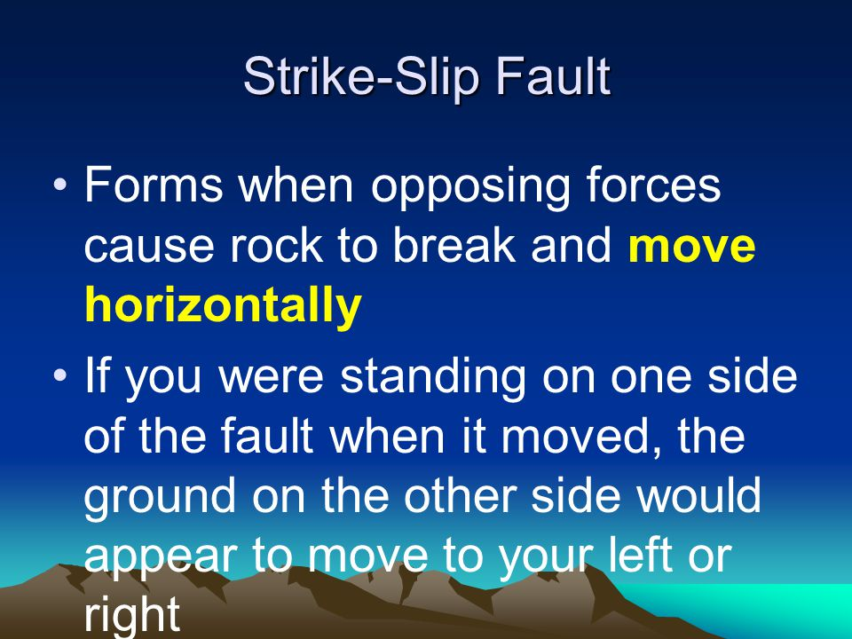 Strike-Slip Fault Forms when opposing forces cause rock to break and move horizontally.