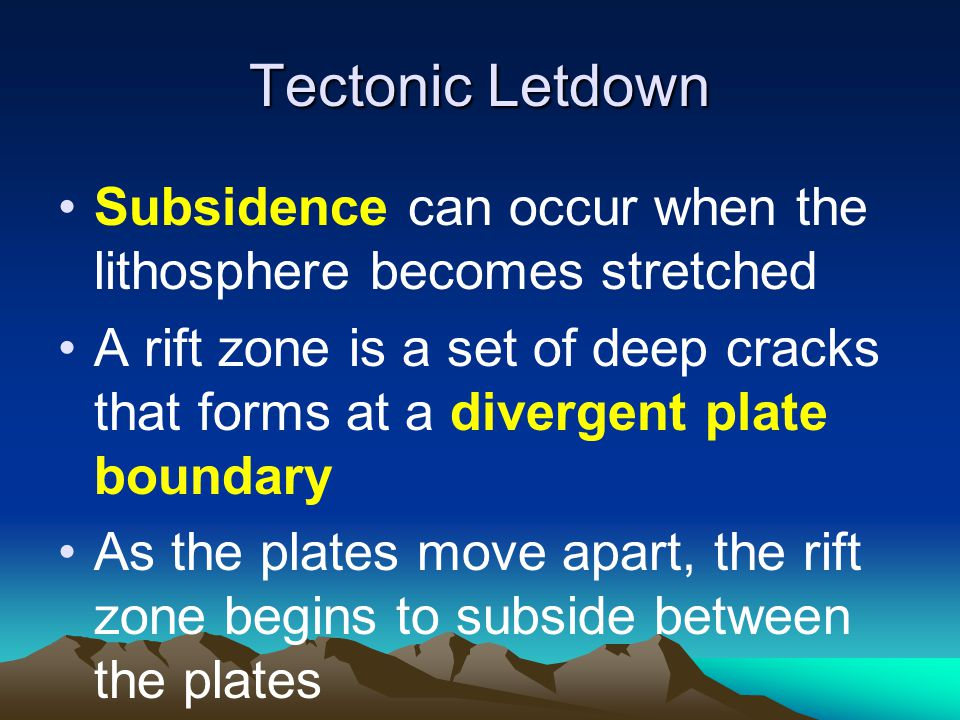 Tectonic Letdown Subsidence can occur when the lithosphere becomes stretched.