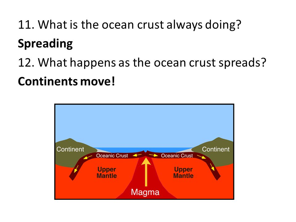 11. What is the ocean crust always doing. Spreading 12