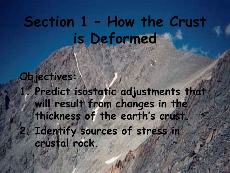 Section 1 – How the Crust is Deformed