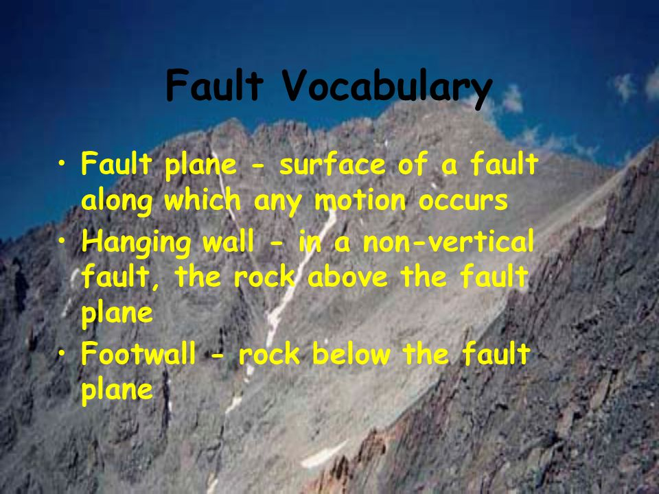 Fault Vocabulary Fault plane - surface of a fault along which any motion occurs.