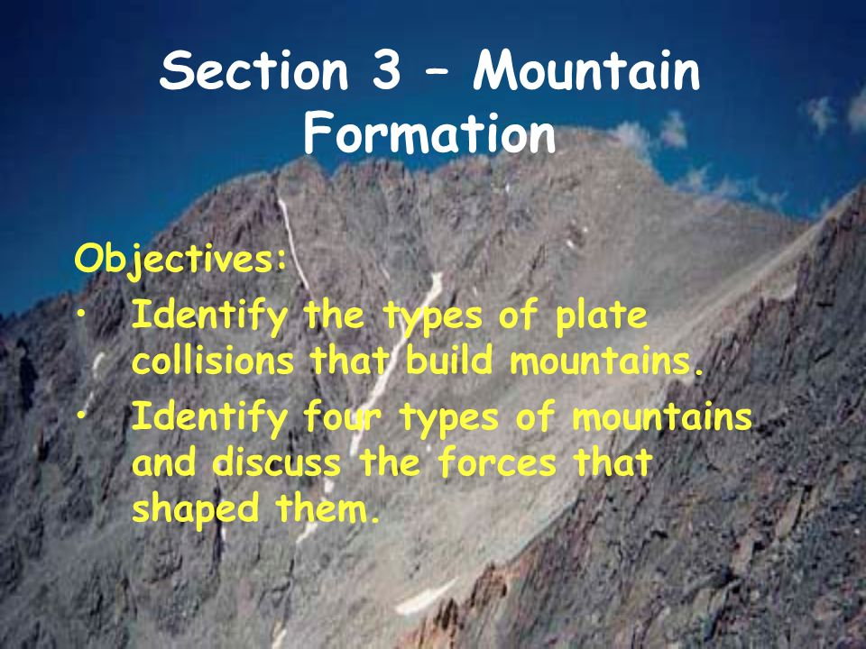 Section 3 – Mountain Formation