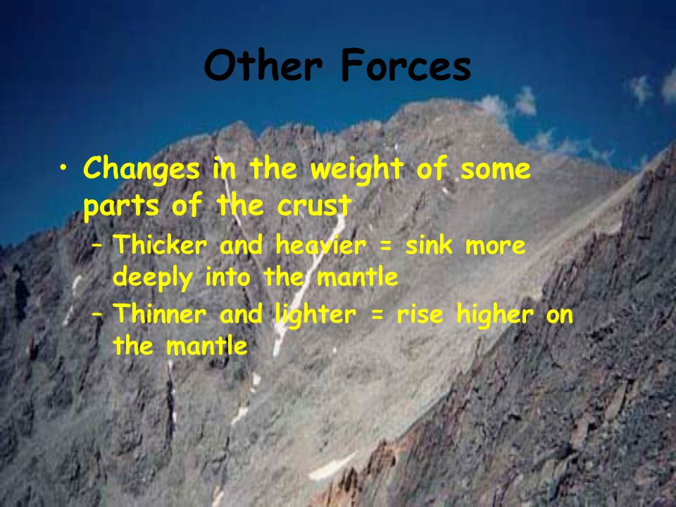 Other Forces Changes in the weight of some parts of the crust