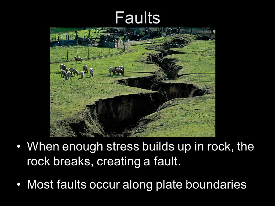 Faults When enough stress builds up in rock, the rock breaks, creating a fault.