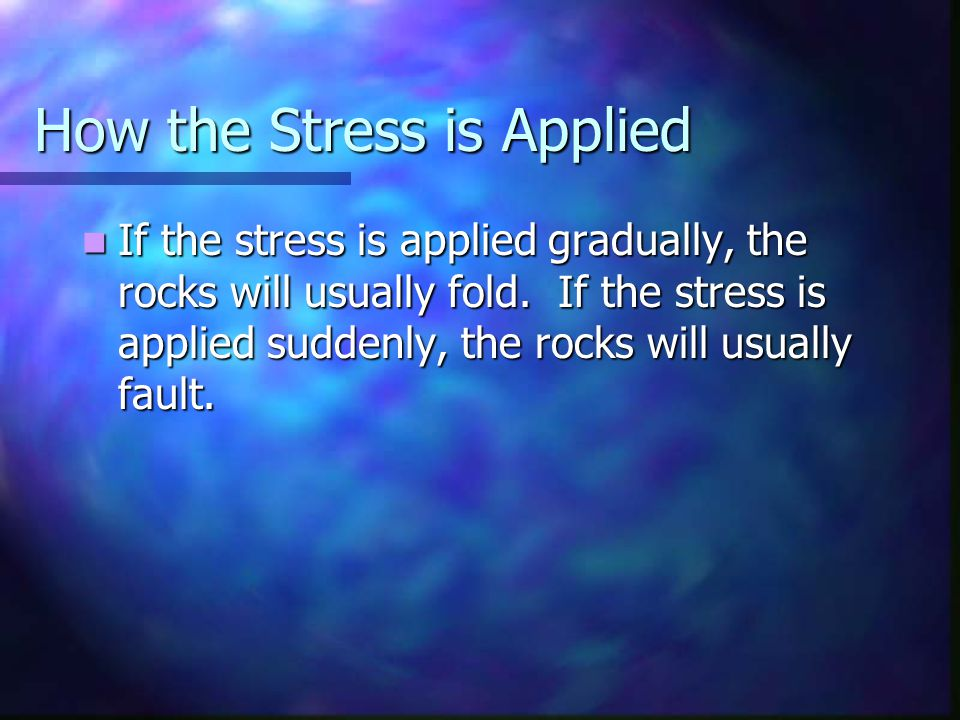 How the Stress is Applied