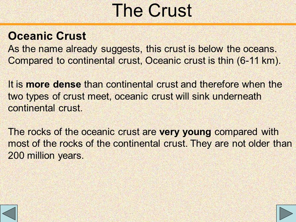 The Crust Oceanic Crust