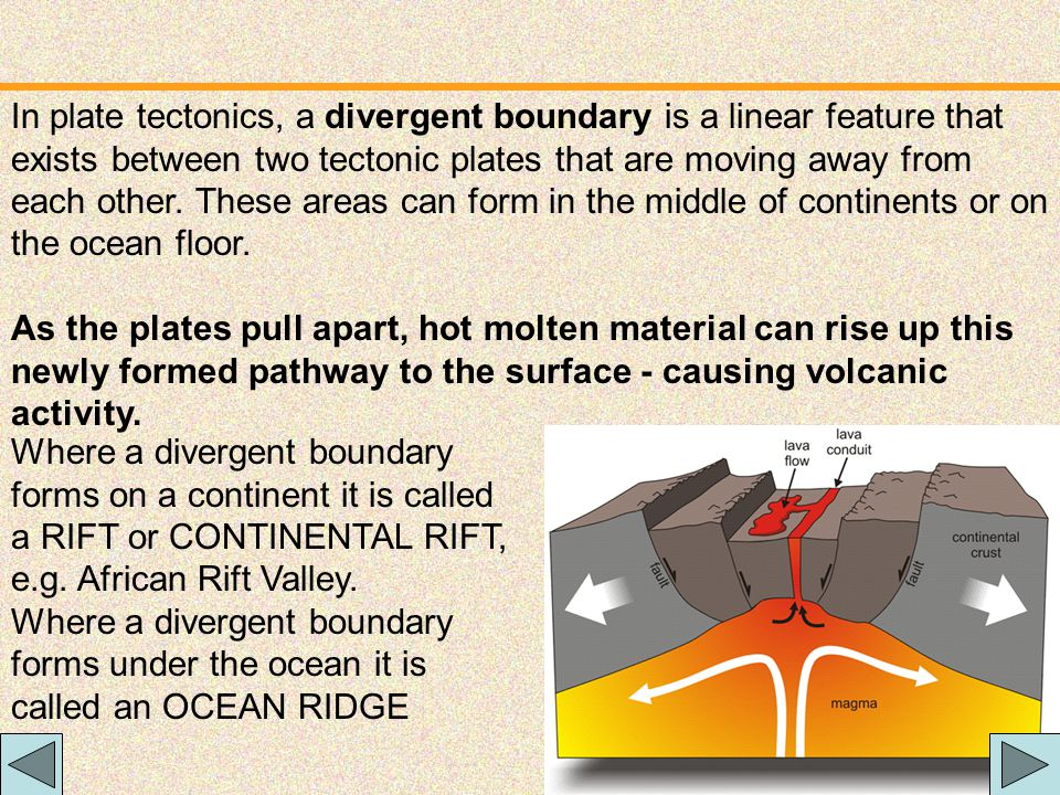 In plate tectonics, a divergent boundary is a linear feature that exists between two tectonic plates that are moving away from each other. These areas can form in the middle of continents or on the ocean floor.