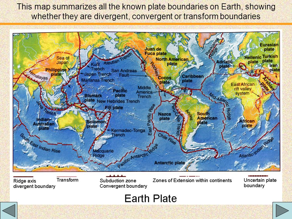 This map summarizes all the known plate boundaries on Earth, showing whether they are divergent, convergent or transform boundaries