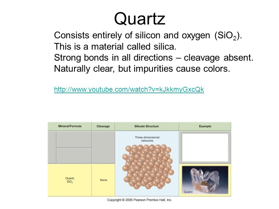 Quartz Consists entirely of silicon and oxygen (SiO2). This is a material called silica. Strong bonds in all directions – cleavage absent.