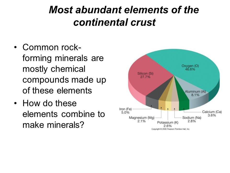 Most abundant elements of the continental crust