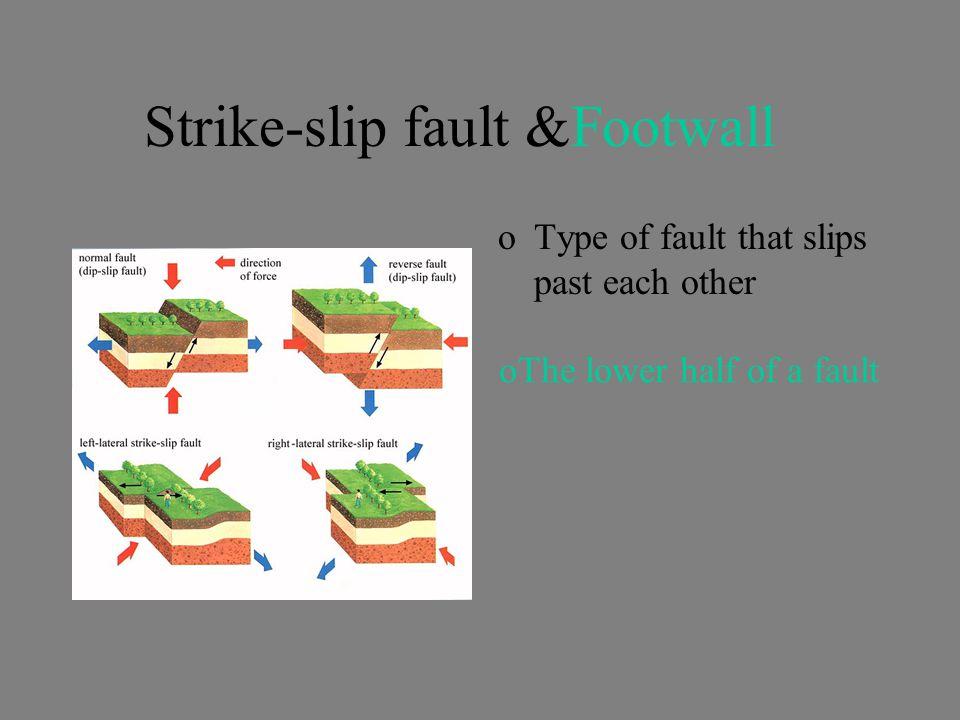 Strike-slip fault &Footwall