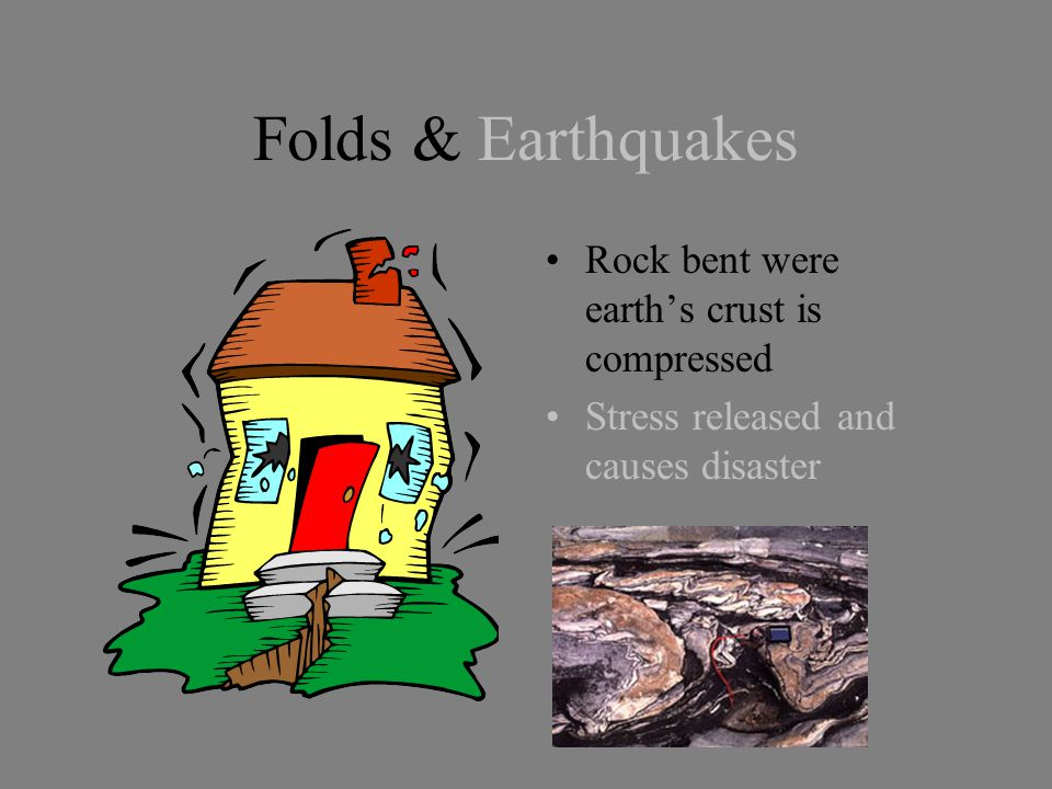 Folds & Earthquakes Rock bent were earth's crust is compressed