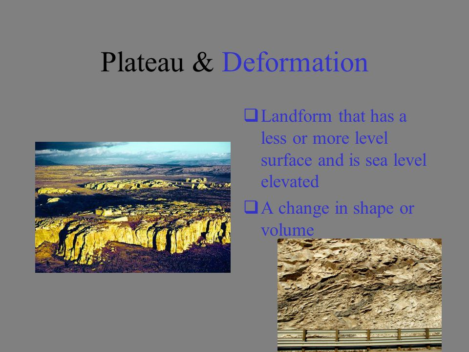 Plateau & Deformation Landform that has a less or more level surface and is sea level elevated.