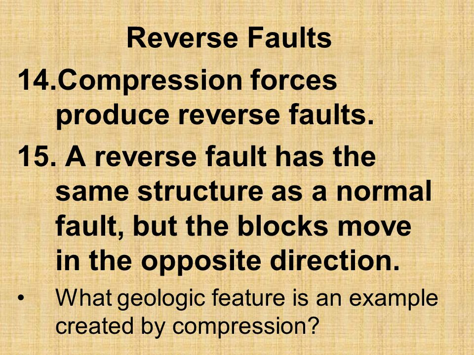 Compression forces produce reverse faults.