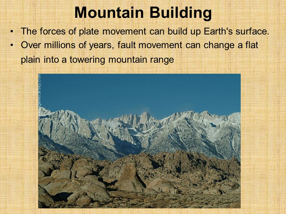 Mountain Building The forces of plate movement can build up Earth s surface.