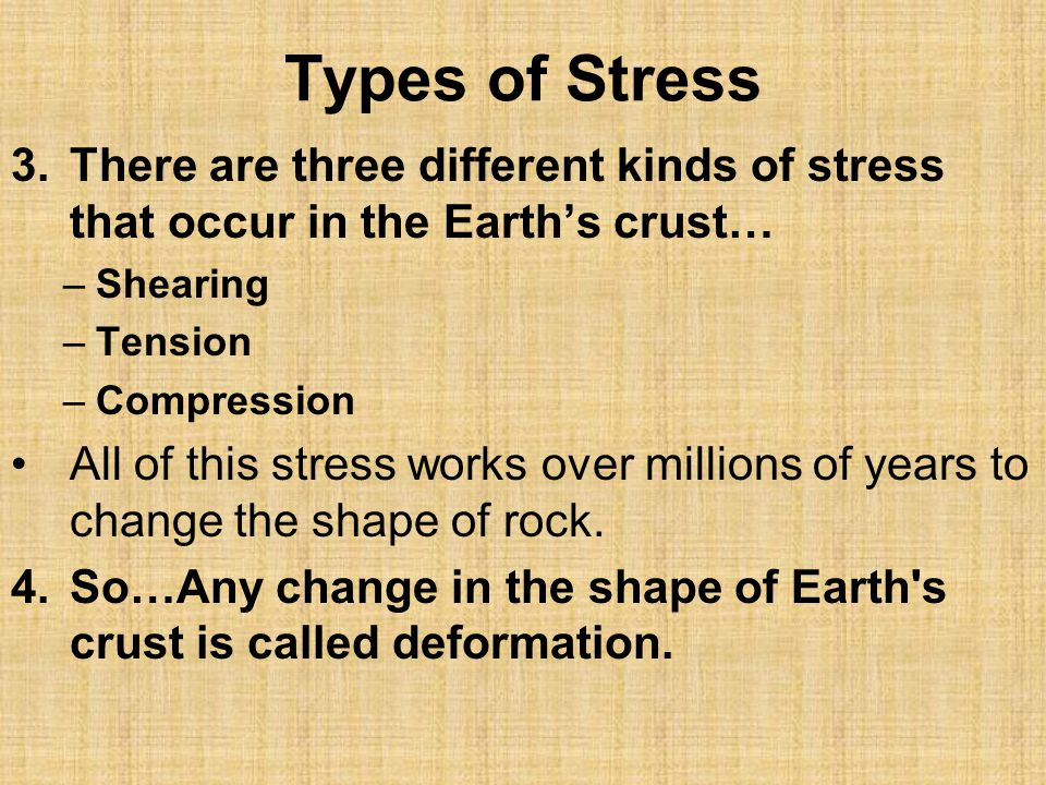 Types of Stress There are three different kinds of stress that occur in the Earth's crust… Shearing.