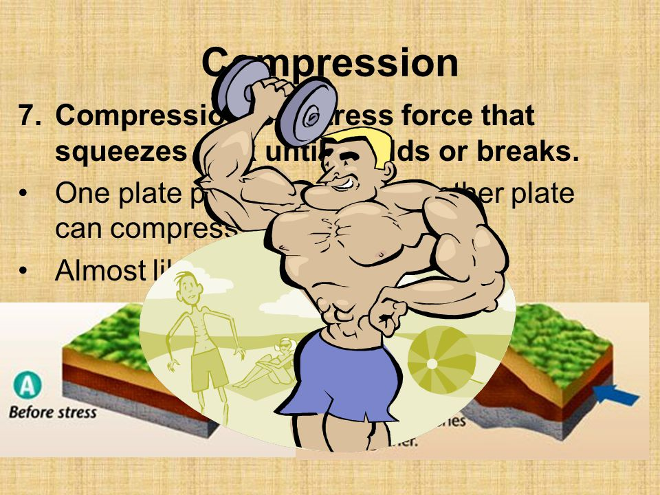 Compression Compression is a stress force that squeezes rock until it folds or breaks.