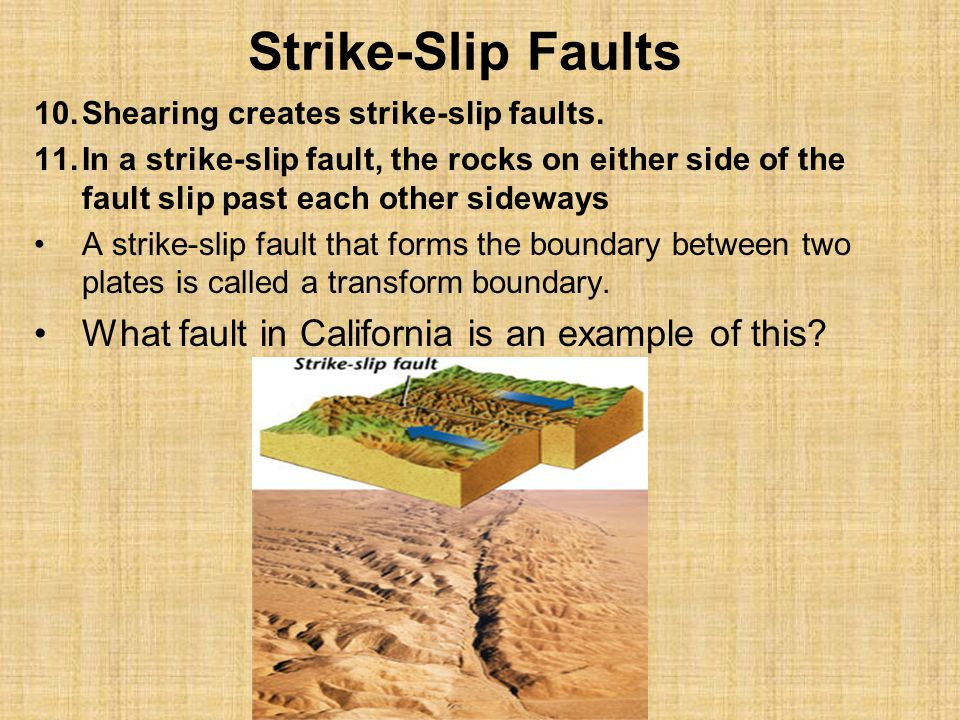 Strike-Slip Faults What fault in California is an example of this