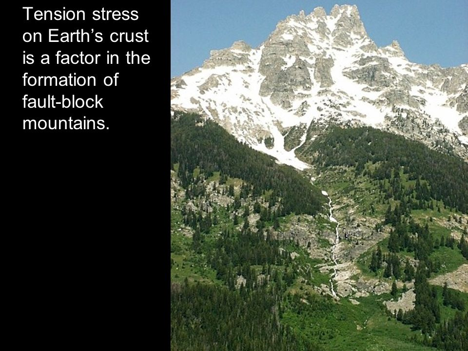 Tension stress on Earth's crust is a factor in the formation of fault-block mountains.