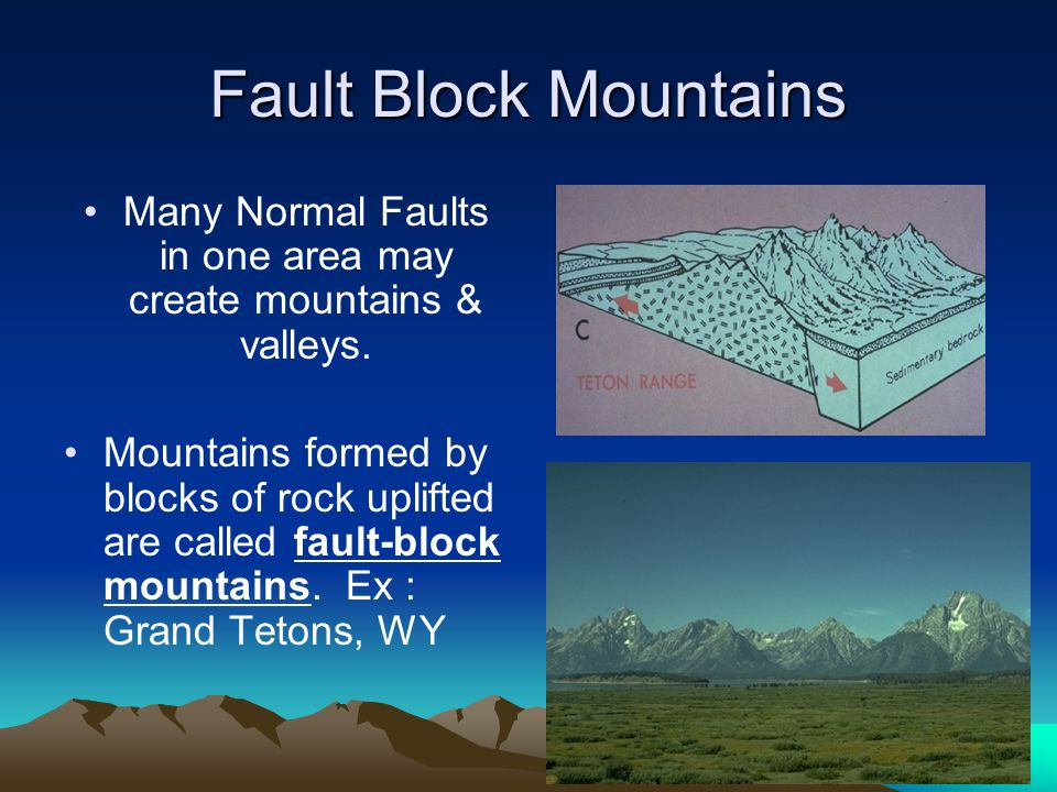 Many Normal Faults in one area may create mountains & valleys.