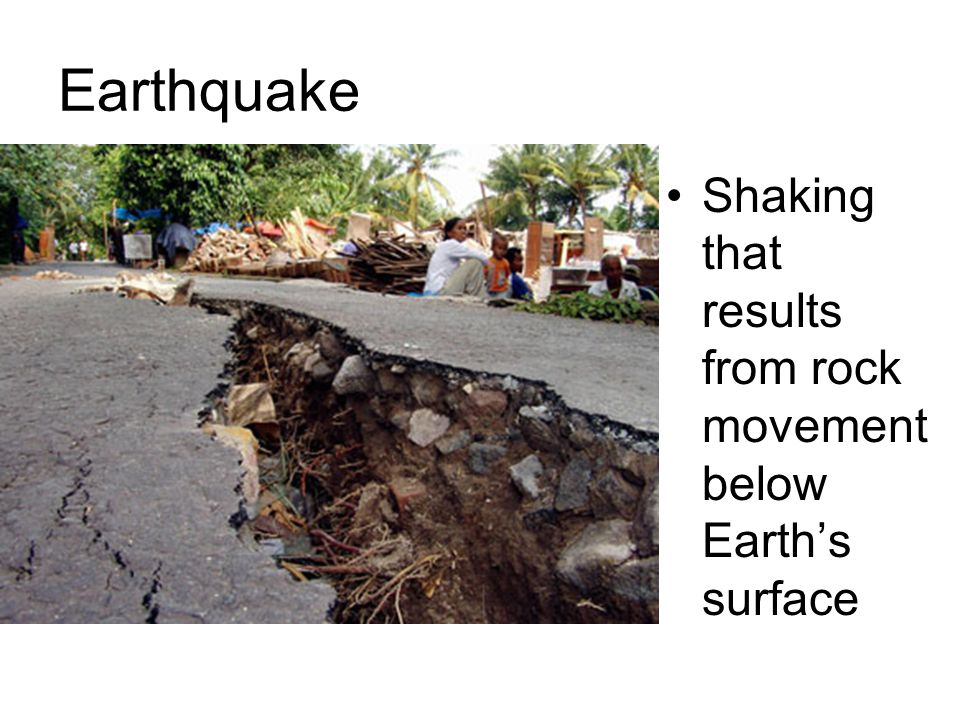 Earthquake Shaking that results from rock movement below Earth's surface