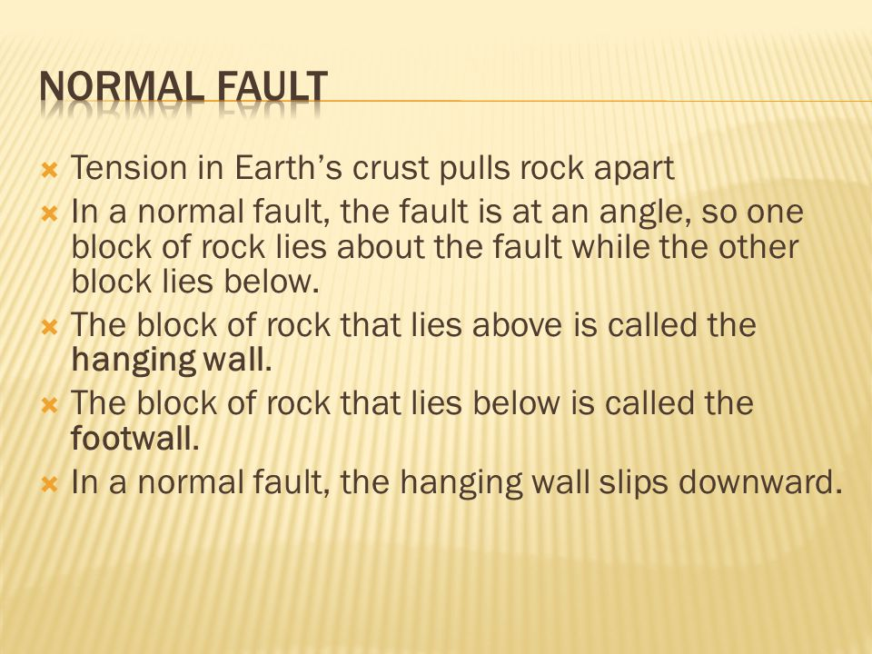 Normal Fault Tension in Earth's crust pulls rock apart