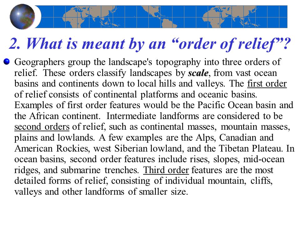 2. What is meant by an order of relief
