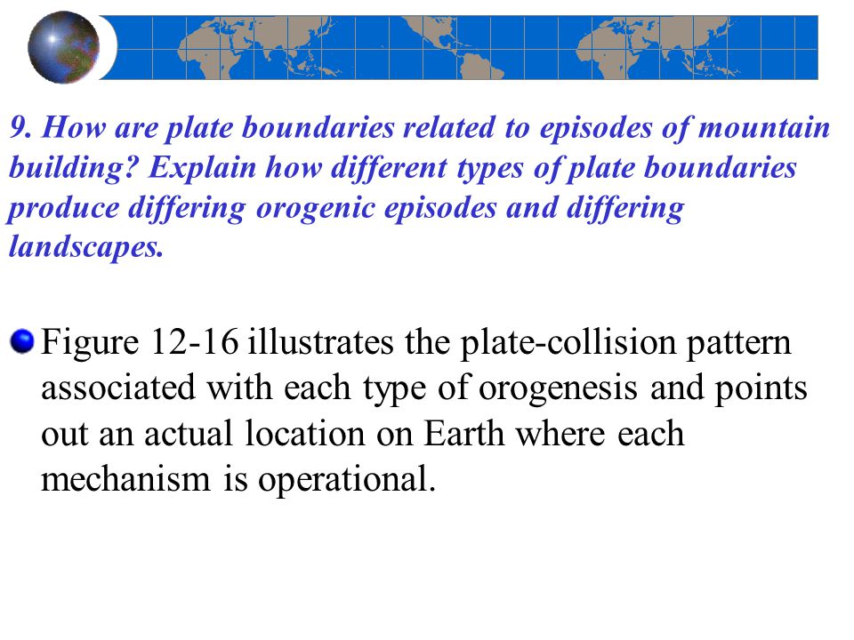 9. How are plate boundaries related to episodes of mountain building