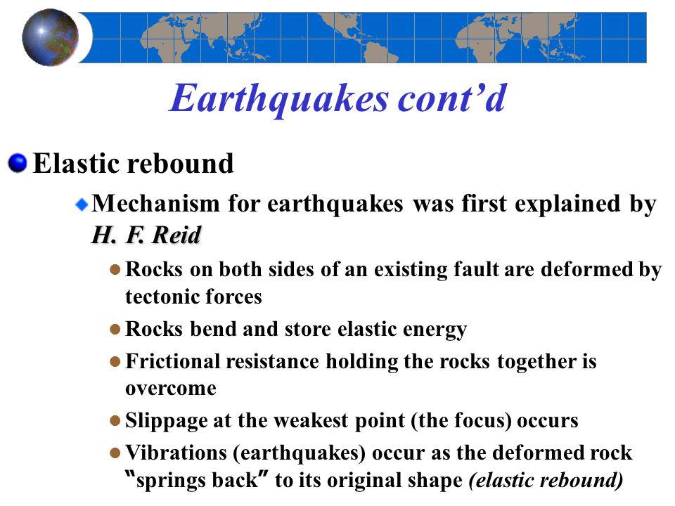 Earthquakes cont'd Elastic rebound