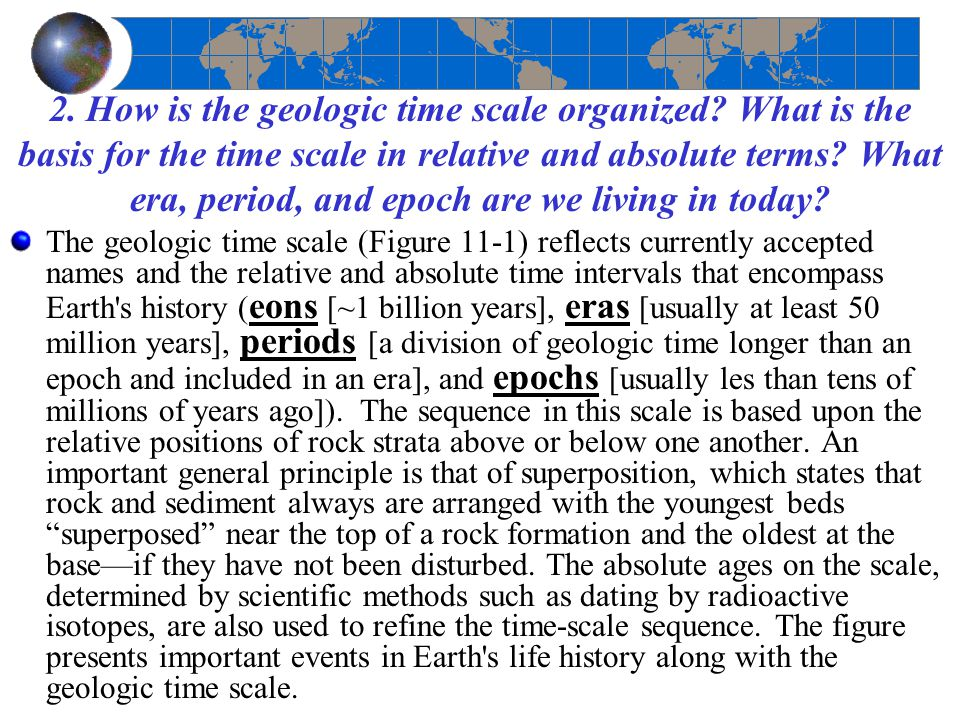 2. How is the geologic time scale organized