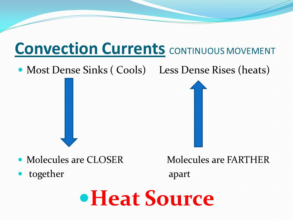 Convection Currents CONTINUOUS MOVEMENT