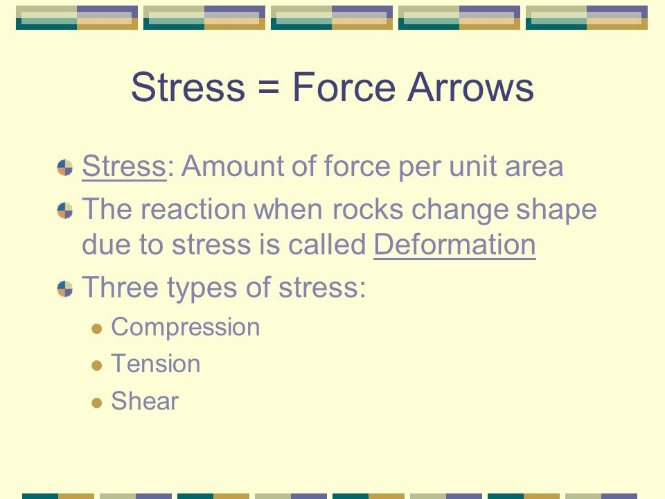 Stress = Force Arrows Stress: Amount of force per unit area
