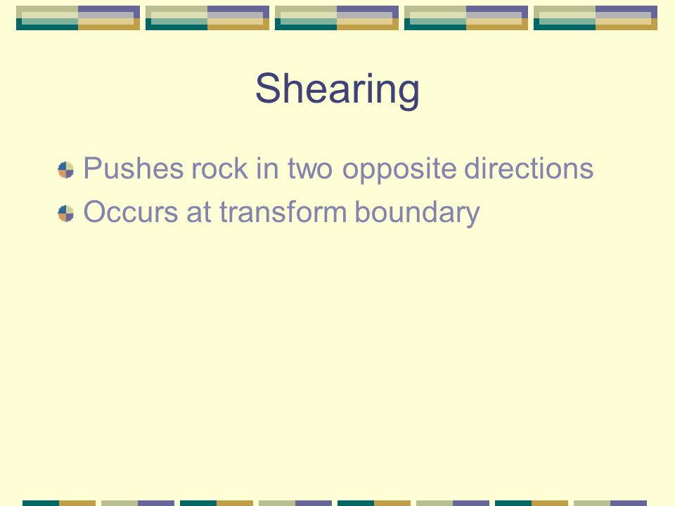 Shearing Pushes rock in two opposite directions