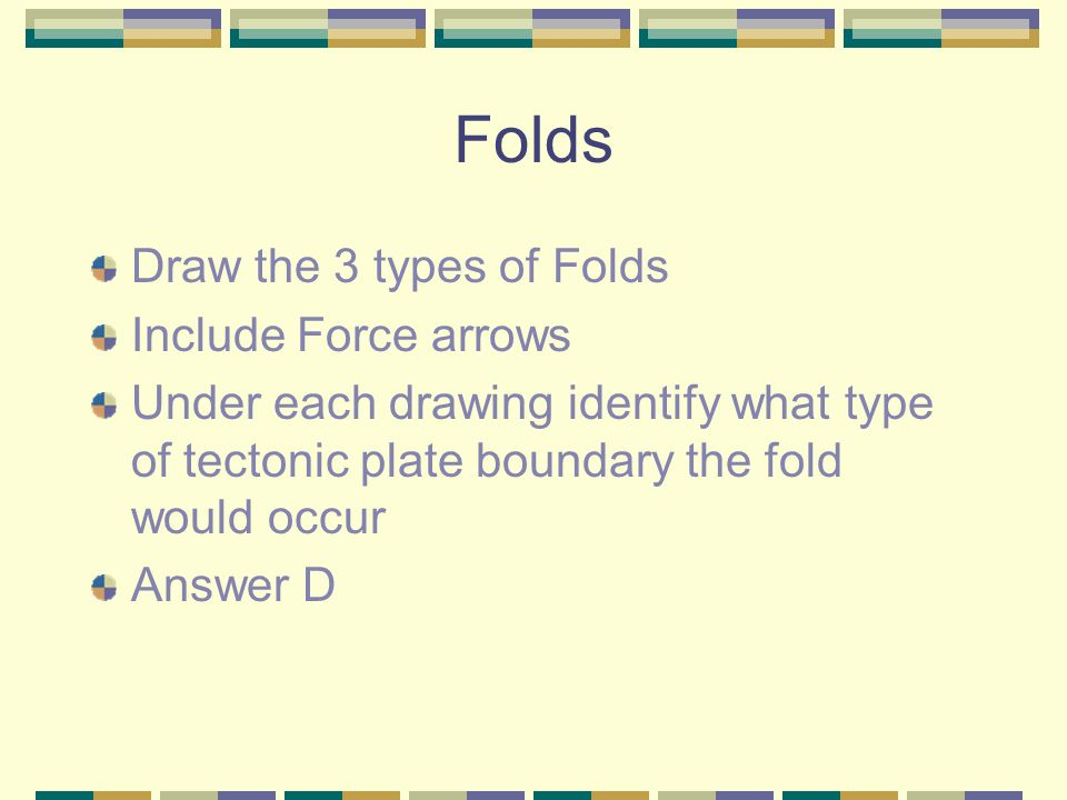 Folds Draw the 3 types of Folds Include Force arrows
