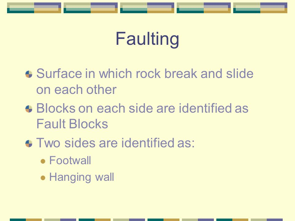 Faulting Surface in which rock break and slide on each other