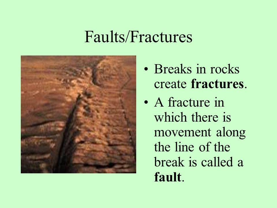 Faults/Fractures Breaks in rocks create fractures.
