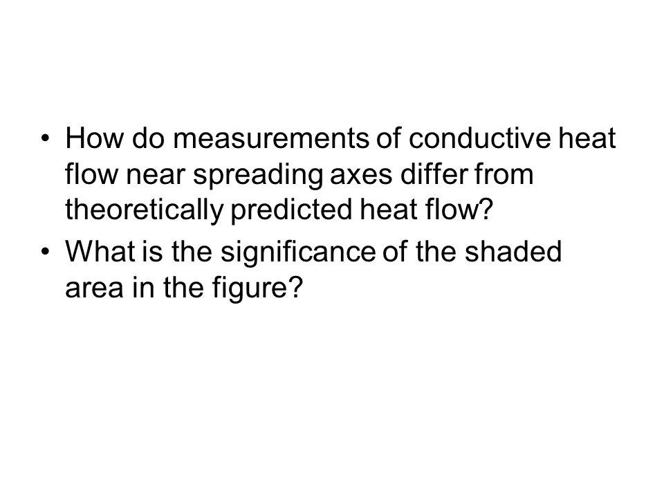 How do measurements of conductive heat flow near spreading axes differ from theoretically predicted heat flow