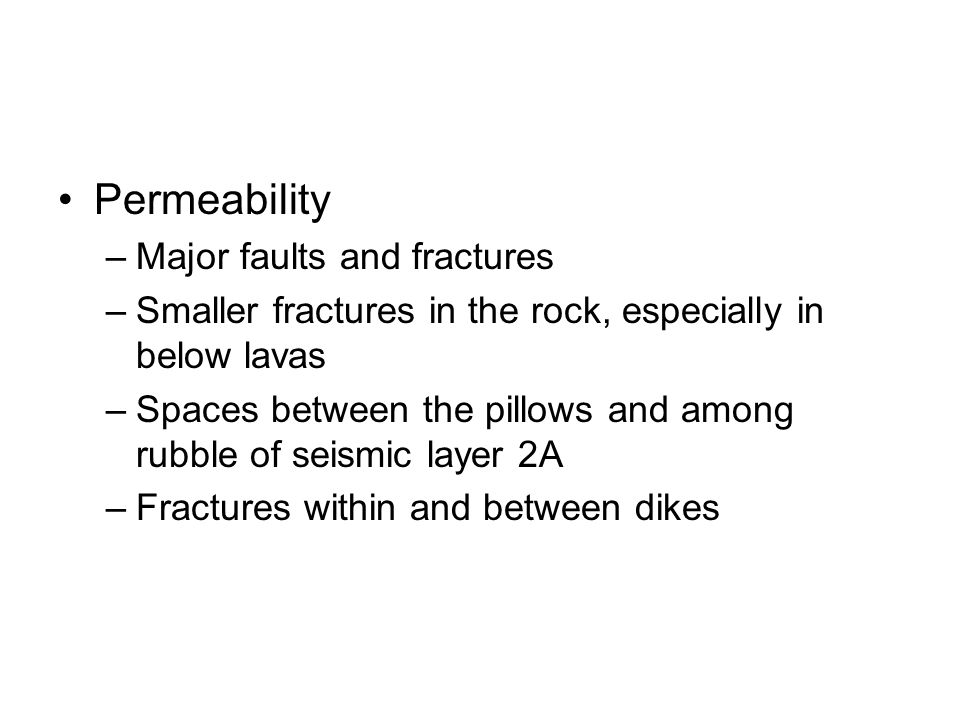 Permeability Major faults and fractures